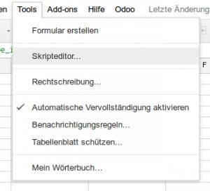 Google Tabellen Skripteditor